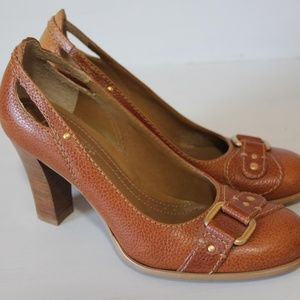 Franco Sarto Shoes - Franco Sarto Leather Buckle Wood Heels Size 6.5M